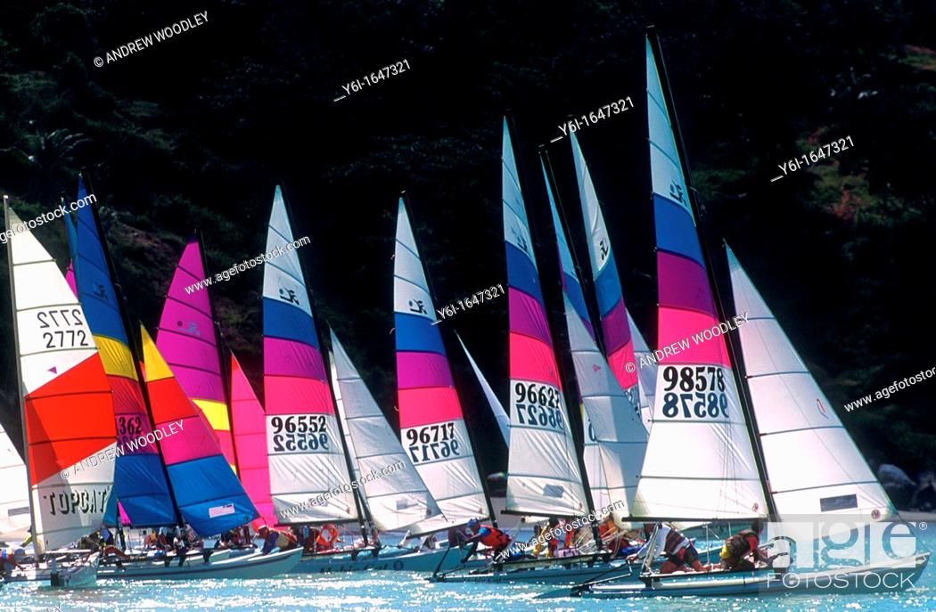 Stock Photo: Catamaran fleet racing off Phuket Thailand.