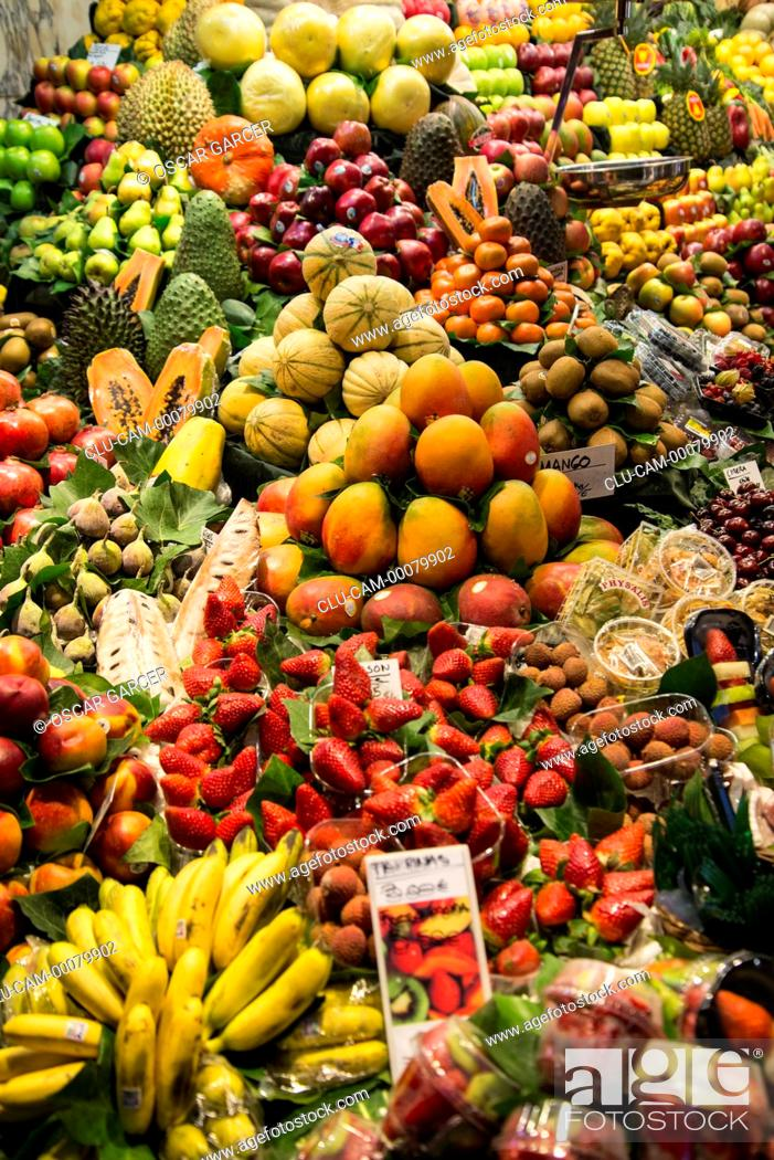 Stock Photo: San Jose Market, La Boqueria, Barcelona, Catalonia, Spain, Western Europe.