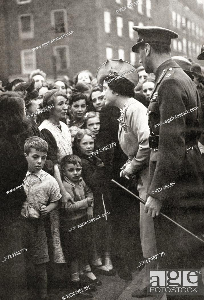 Stock Photo: Queen Elizabeth visiting the people of London during World War Two. Queen Elizabeth, The Queen Mother. Elizabeth Angela Marguerite Bowes-Lyon, 1900 - 2002.