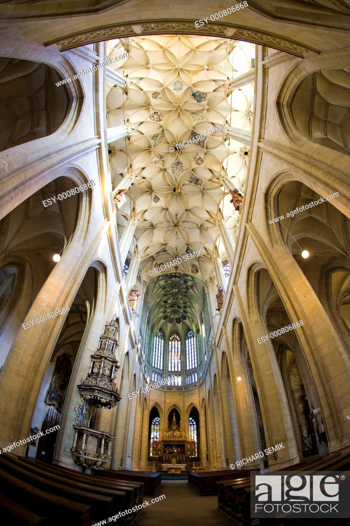 Stock Photo: interior of Cathedral of St  Barbara, Kutna Hora, Czech Republic.