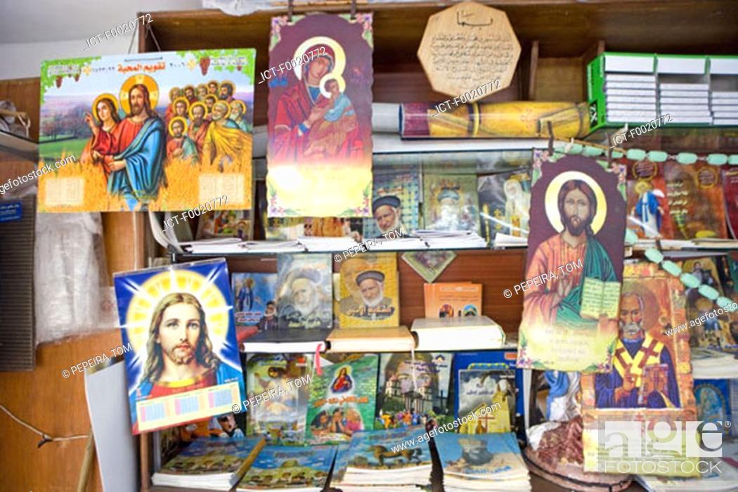 Stock Photo: Jordan, Amman, Christian Coptic shop.