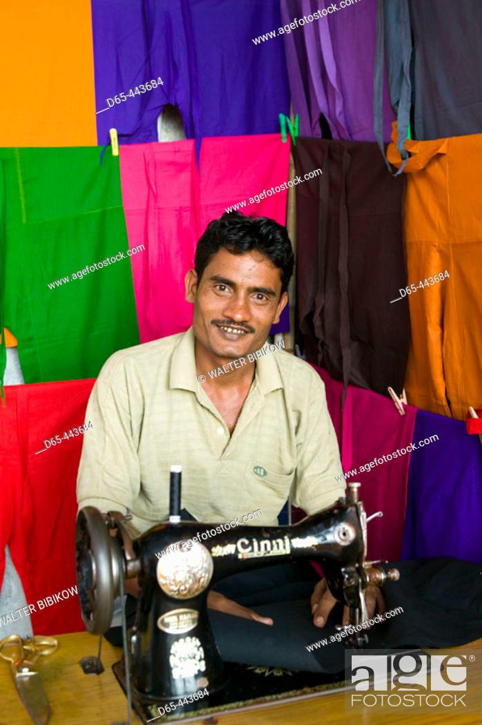 Stock Photo: Indian tailor, Anjuna. Goa, India (2004).