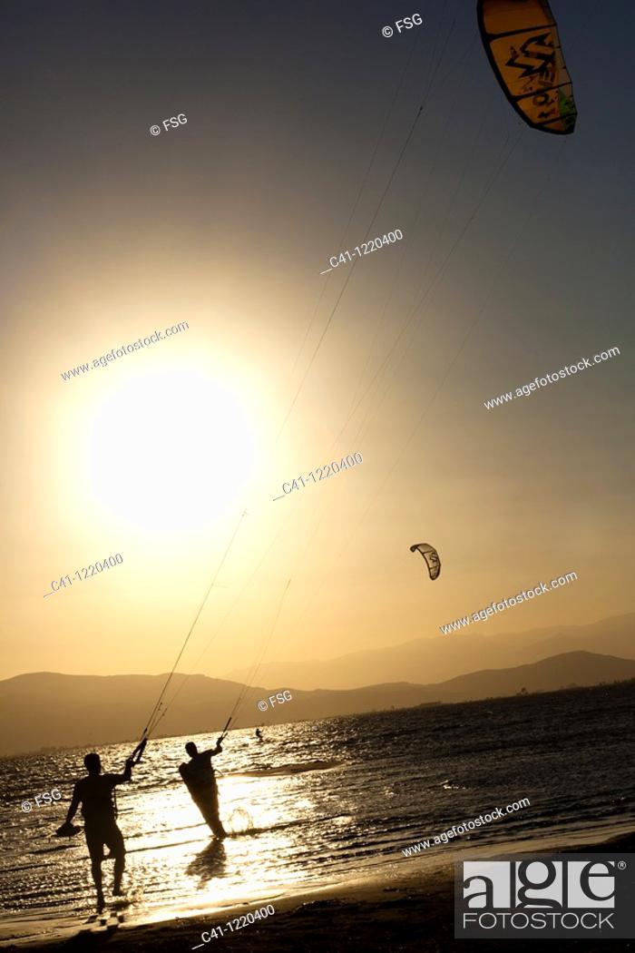 Stock Photo: Kitesurfing, Ebro Delta, Tarragona Province, Catalonia, Spain.
