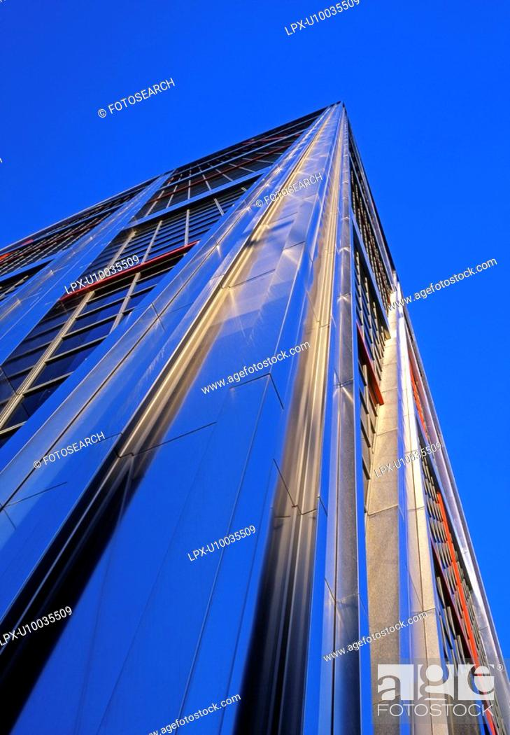 Stock Photo: Leaning high rise buildings.