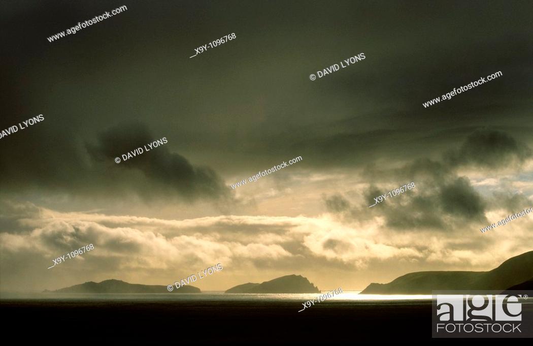 Stock Photo: Storm over Blasket Islands from Slea Head, Dingle Peninsula, Co  Kerry, Ireland  L-R Inishvickillane, Inishabro, Great Blasket.
