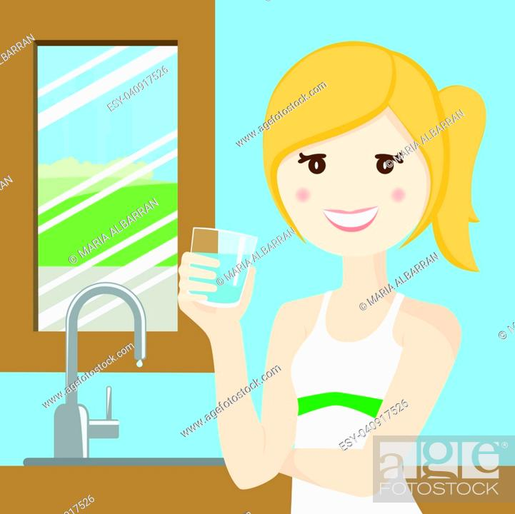 Stock Vector: Woman drinking water after playing sport.