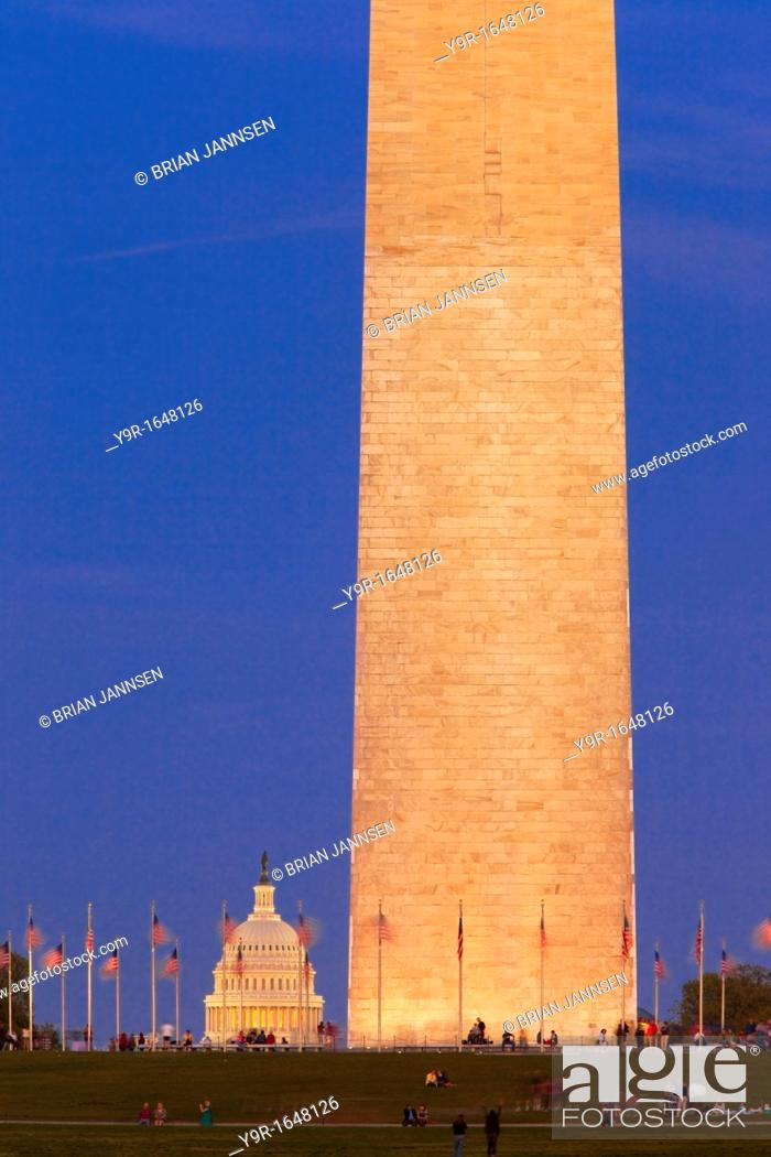 Stock Photo: Twilight at the Washington Monument with the dome of the US Capitol Building beyond, Washington DC, USA.