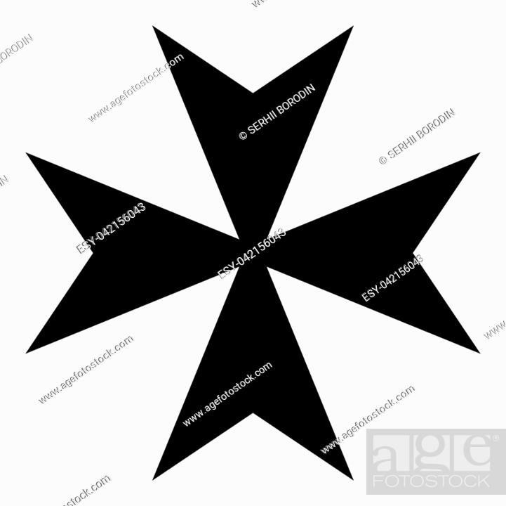 Stock Vector: Maltese cross icon black color vector illustration flat style simple image.