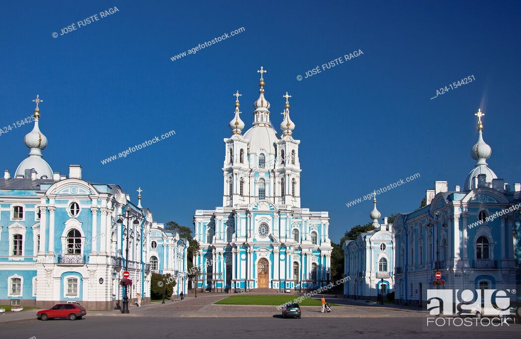 Stock Photo: Rusia , San Petersburg City, Smolny Monastery.