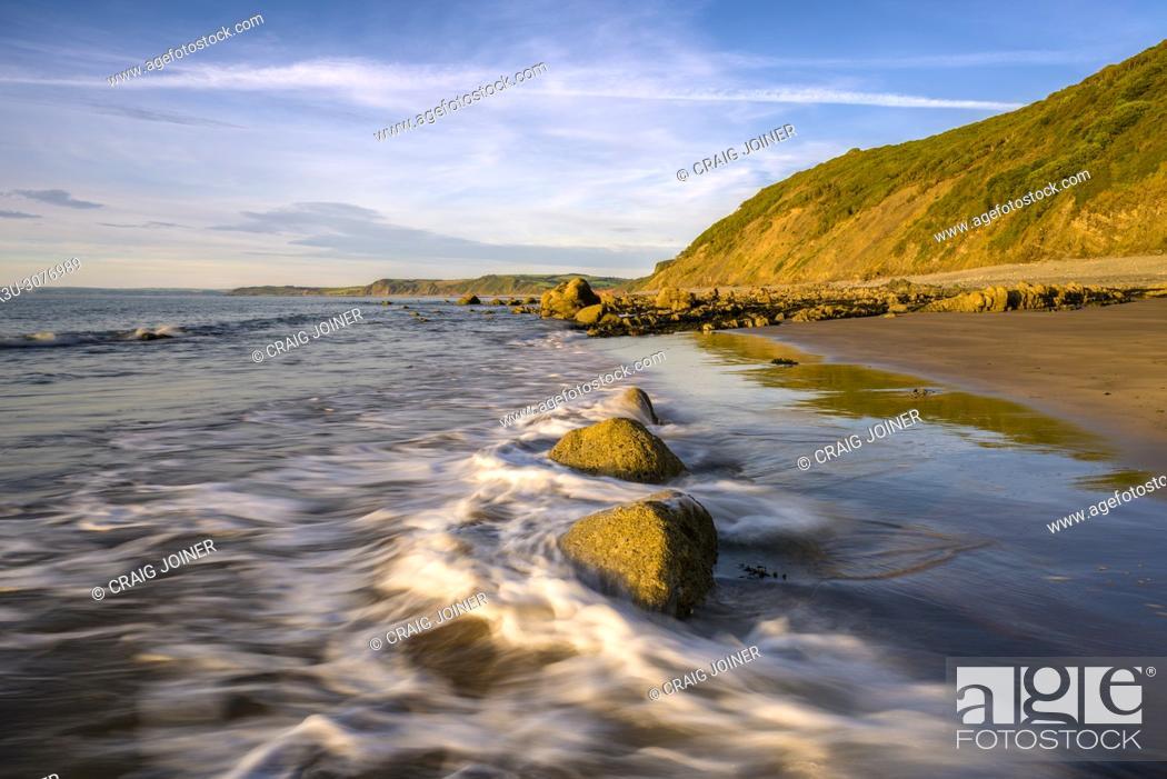 Stock Photo: Buck's Mills beach on the North Devon Heritage Coast, England.