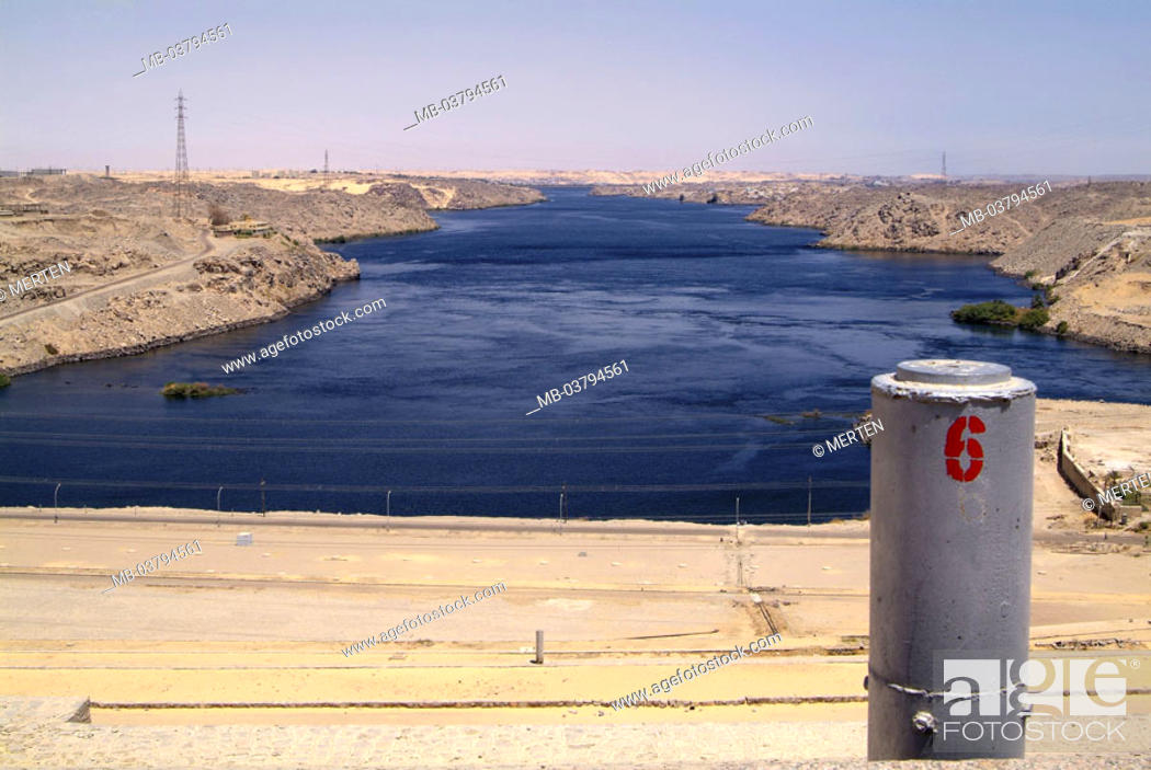 Stock Photo: Egypt, Assuan-Hochdamm, river Nile   Africa, head Egypt, Assuan, sight, high dam, dam, barrage, Assuanhochdamm, built 1960-1970, construction, Sadd al-Ali.
