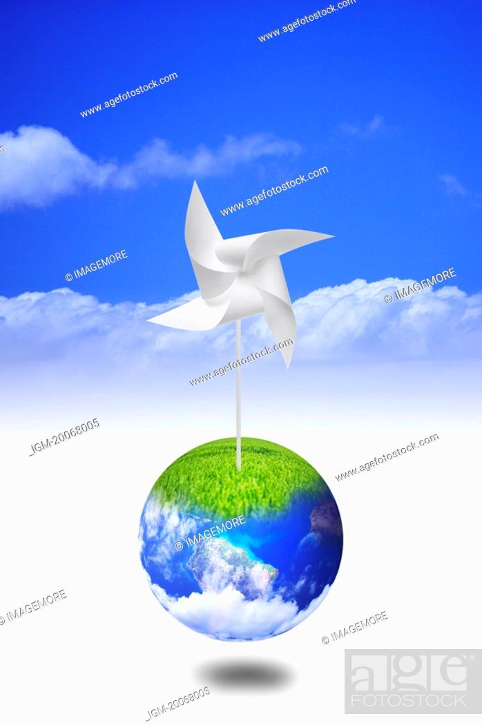 Stock Photo: Lohas, Environmental Conservation, Digitally generated image of a windmill on the earth.