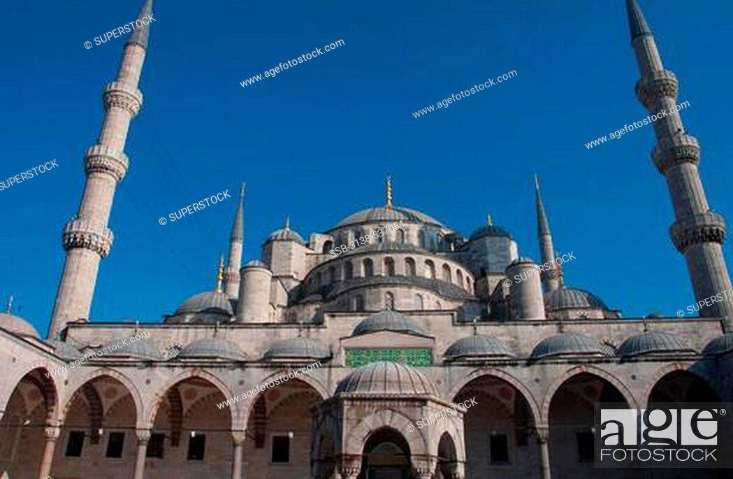 Stock Photo: Low angle view of a mosque, Blue Mosque, Istanbul, Turkey.