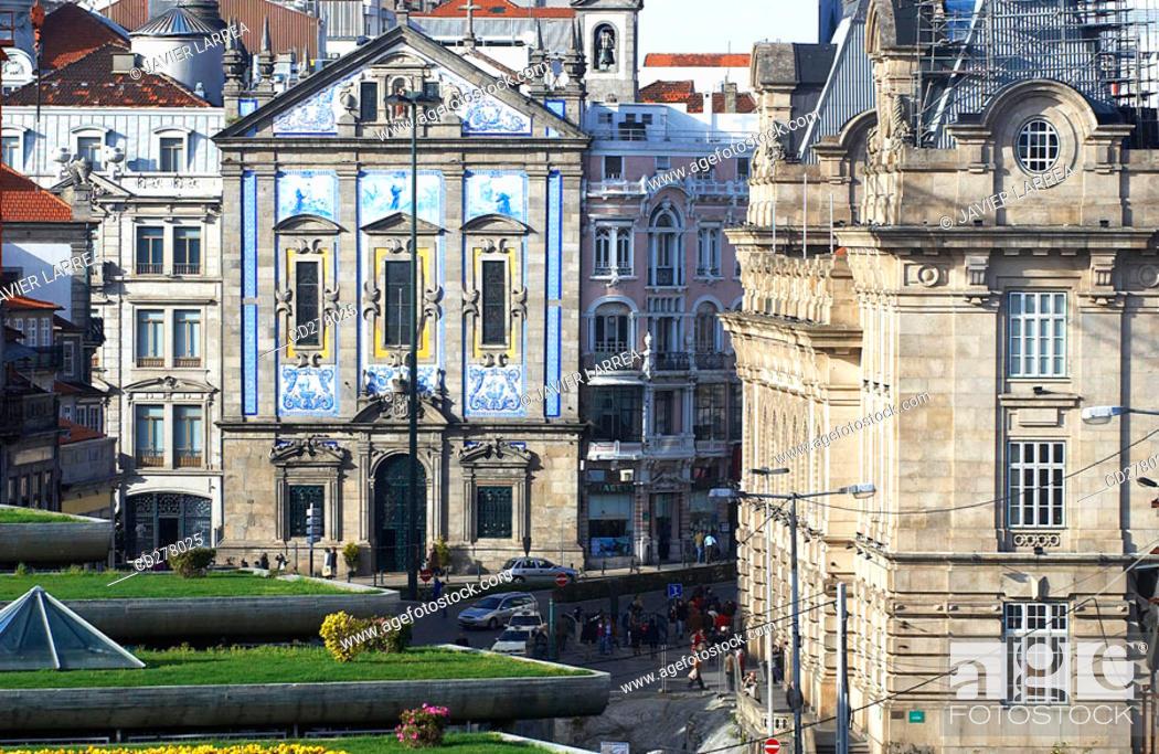Stock Photo: Dos Congregados church and São Bento station, Porto. Portugal.