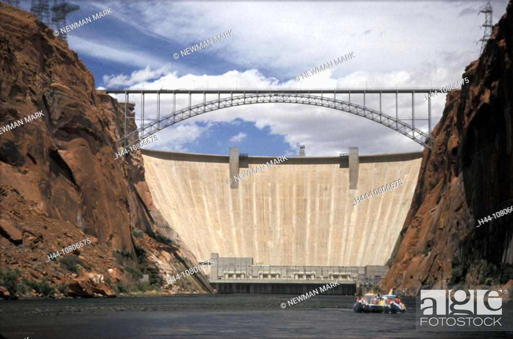 Imagen: Arizona, bridge, Lake Powell, Colorado River, dam, electricity, energy, Glen Canyon Dam, gulch, hydroelectric, power.