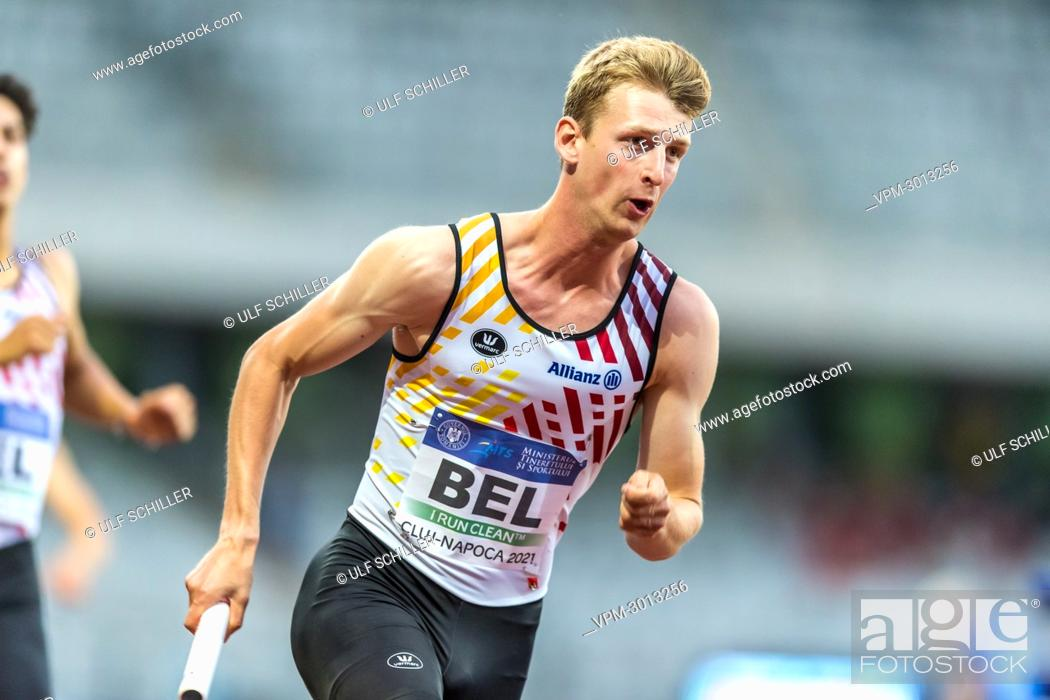 Stock Photo: Belgian Alexander Doom pictured in action during the men's 4x400m relay, at the second day of the European Athletics Team Championships First League athletics.