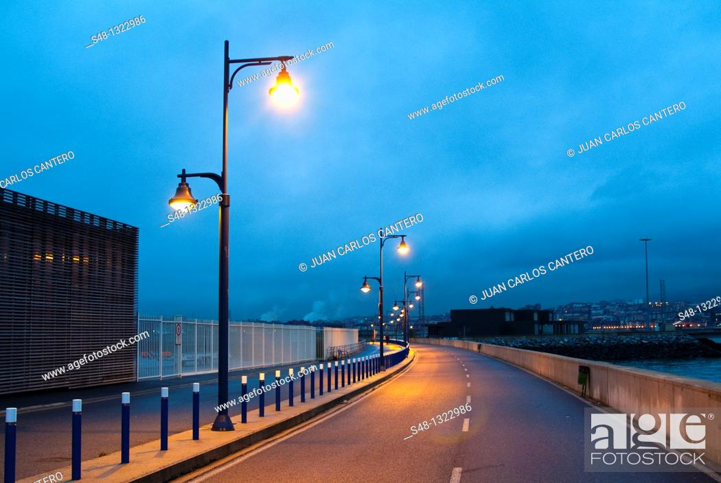 Stock Photo: Marina of Getxo before sunrise. Biscay, Basque Country, Spain.