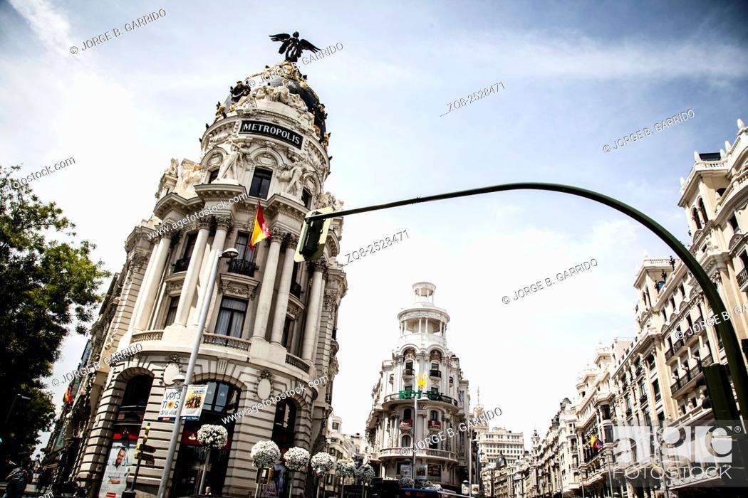 Stock Photo: Metropolis building on Gran Via, Madrid, Spain.