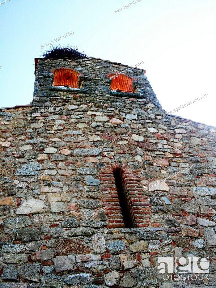 Stock Photo: Torrequemada bell gable, Cáceres, Extremadura, Spain.