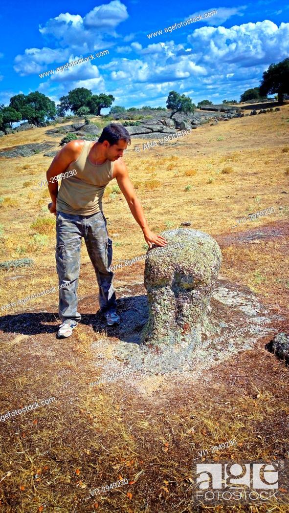 Stock Photo: Boar. Alberto showing Vettones sculpture, dehesa of La Mata de Alcántara, Caceres, Extremadura, Spain.