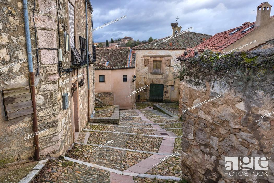 Stock Photo: Houses in Sepulveda town in Province of Segovia, Castile and Leon autonomous community in Spain.
