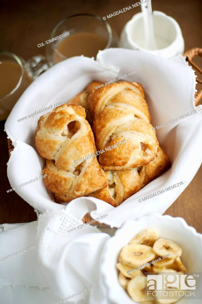 Stock Photo: Baked pastries with banana.