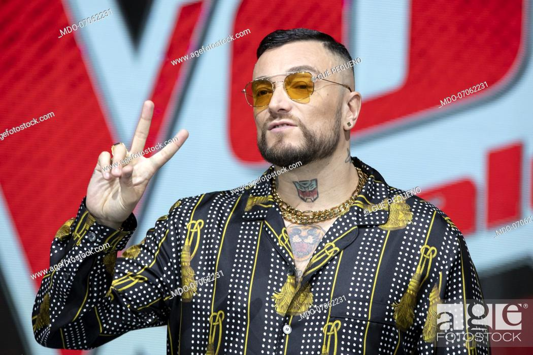 Italian Rapper Gue Pequeno At The Press Conference Of The Voice Of Italy Stock Photo Picture And Rights Managed Image Pic Mdo 07062231 Agefotostock