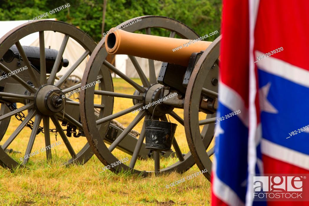 Stock Photo: Confederate camp cannon with Confederate flag, Civil War Reenactment, Willamette Mission State Park, Oregon.