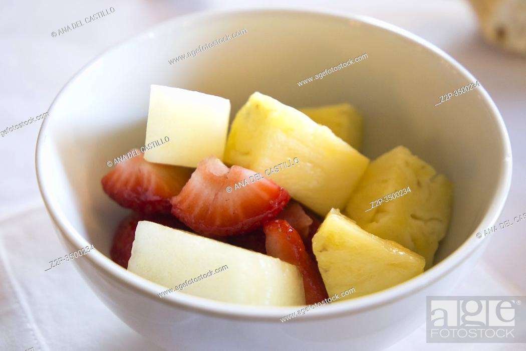 Stock Photo: Salad fruit on white bowl.