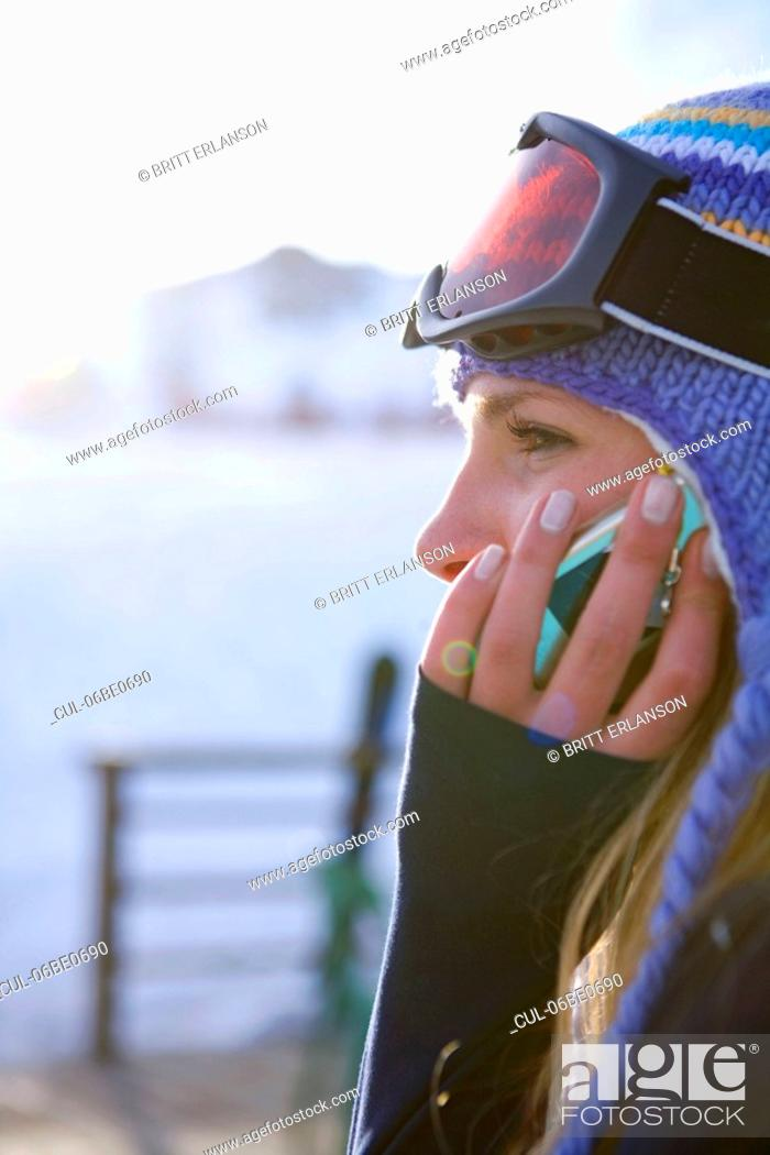 Stock Photo: Girl talking on phone.