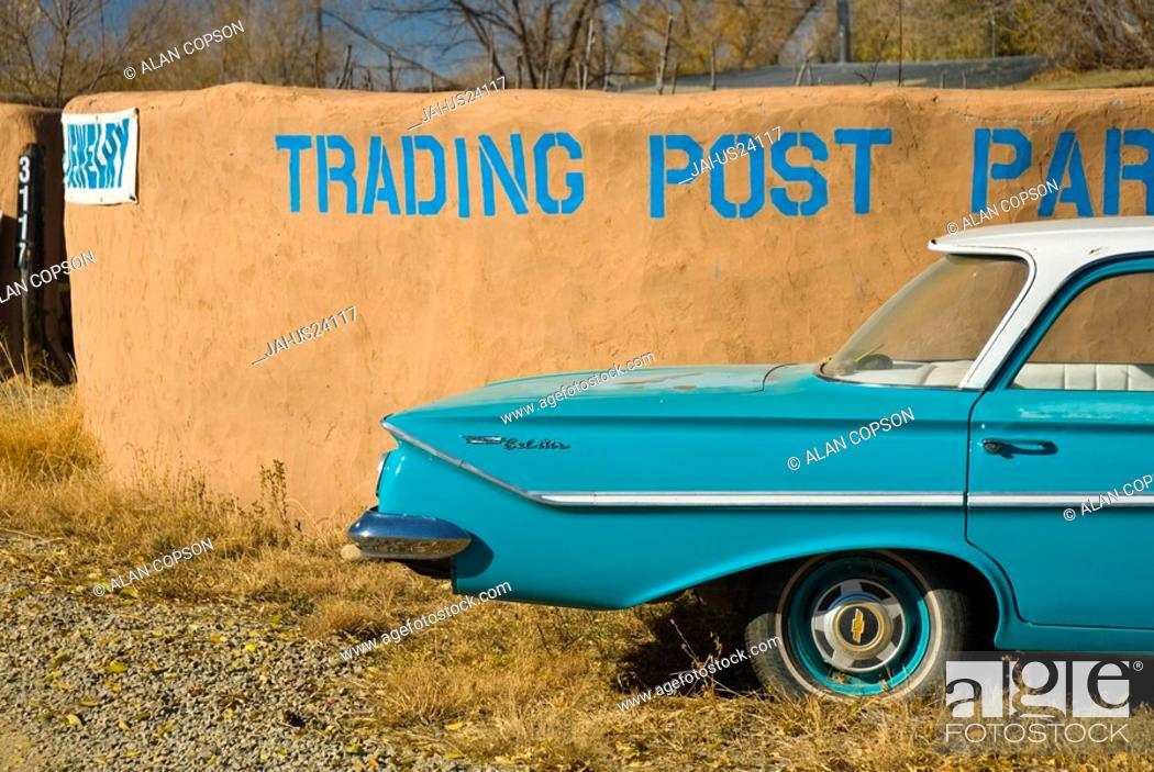 Usa New Mexico Turquoise Trail Trading Post And 1961 Chevrolet