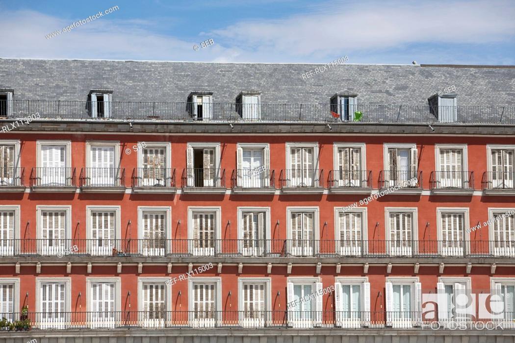 Stock Photo: Apartments Facade, Plaza Mayor, Madrid, Spain.