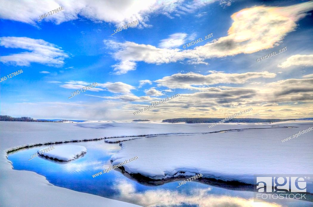 Stock Photo: Alum Creek during winter in Yellowstone National Park, Wyoming.
