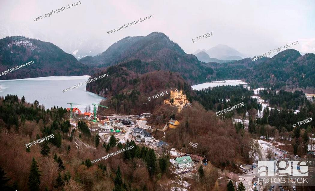 Stock Photo: Panoramic view on Fussen town in Germany.