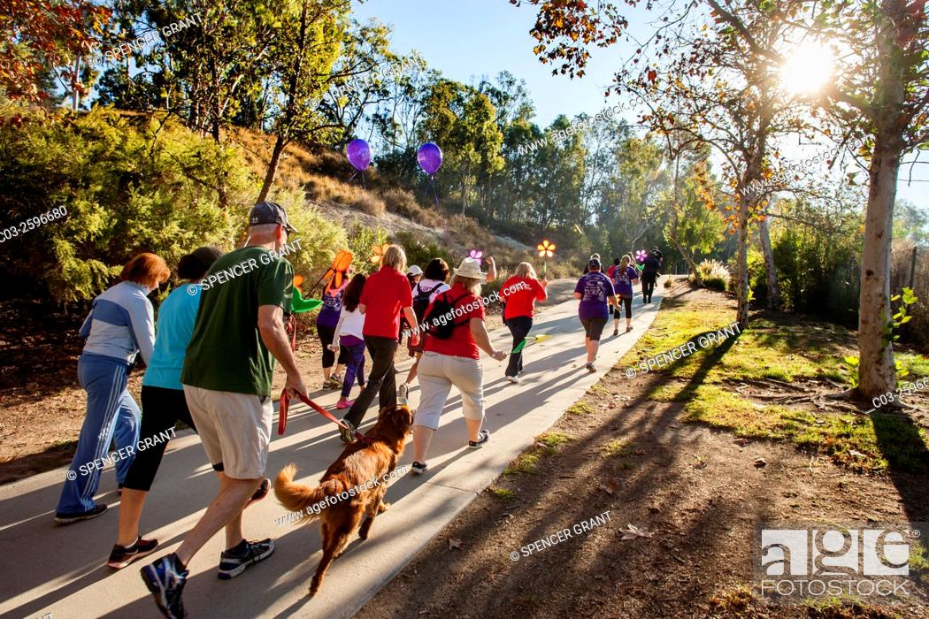 Stock Photo: Participants in a fund raising charity walk for Alzheimer's victims take their pets with them in a Laguna Niguel, CA, park.