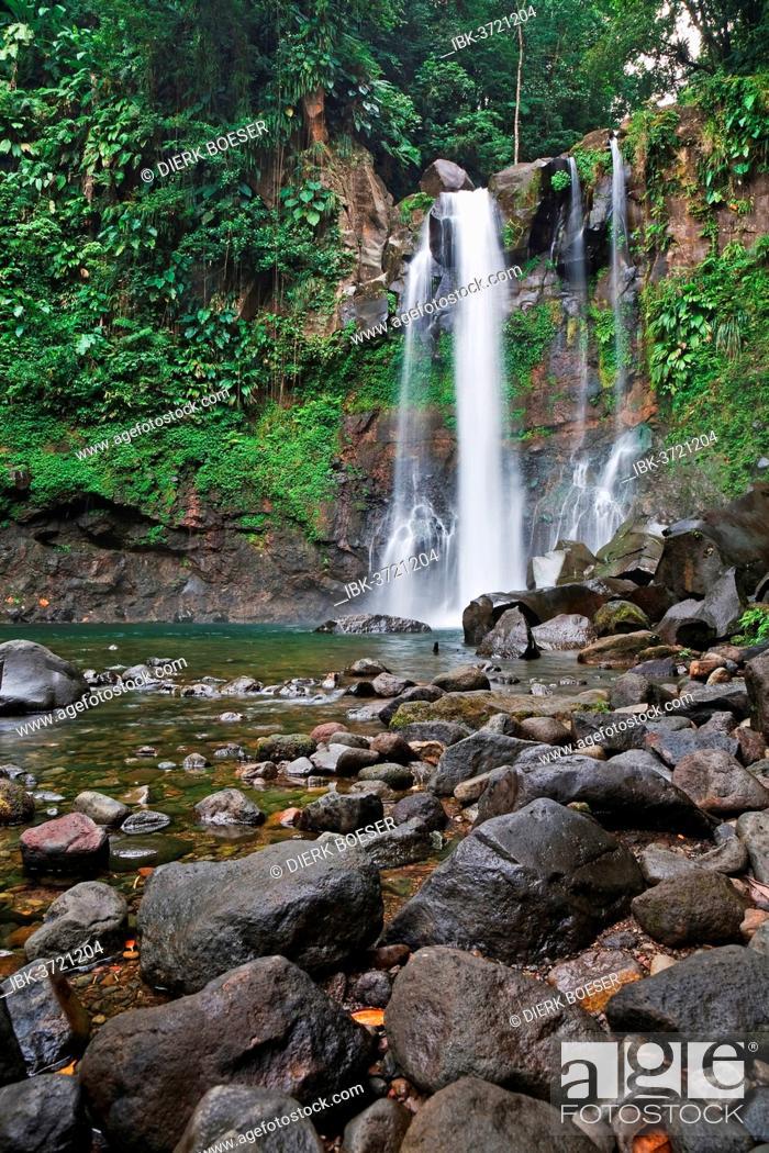 Stock Photo: Cascades 3ième Chute du Carbet waterfall, Capesterre-Belle-Eau, Arrondissement of Basse-Terre, Guadeloupe, France.