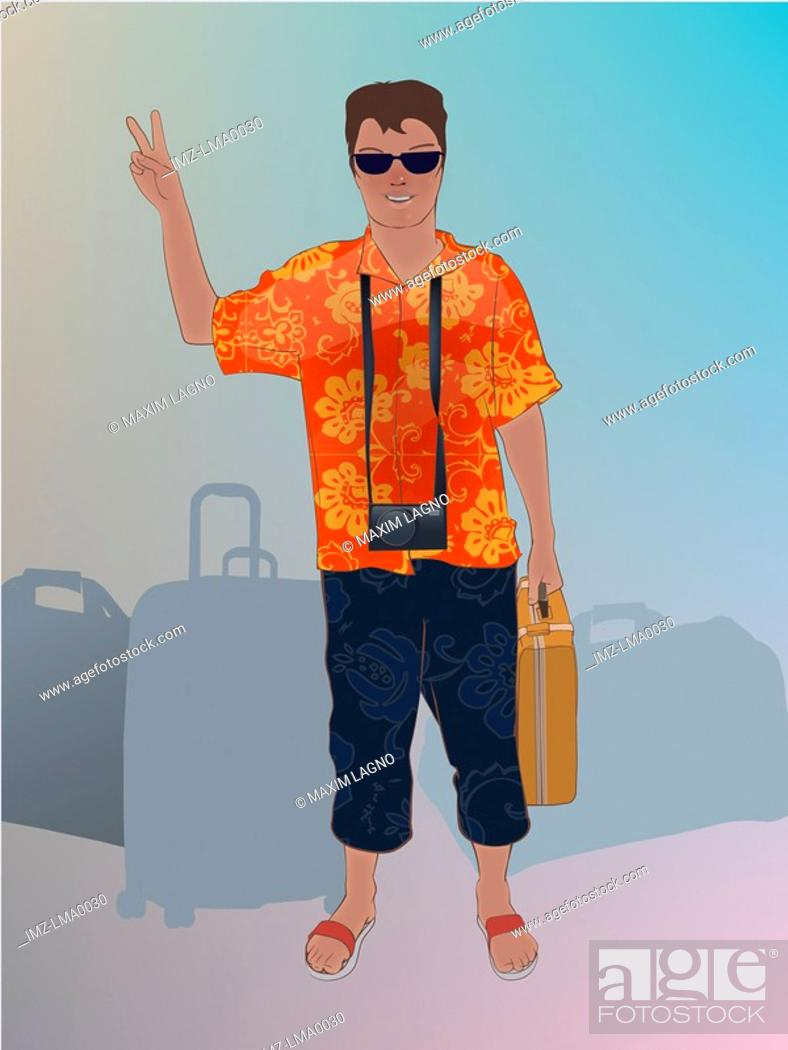 Stock Photo: A tourist in vacation clothes with baggage.