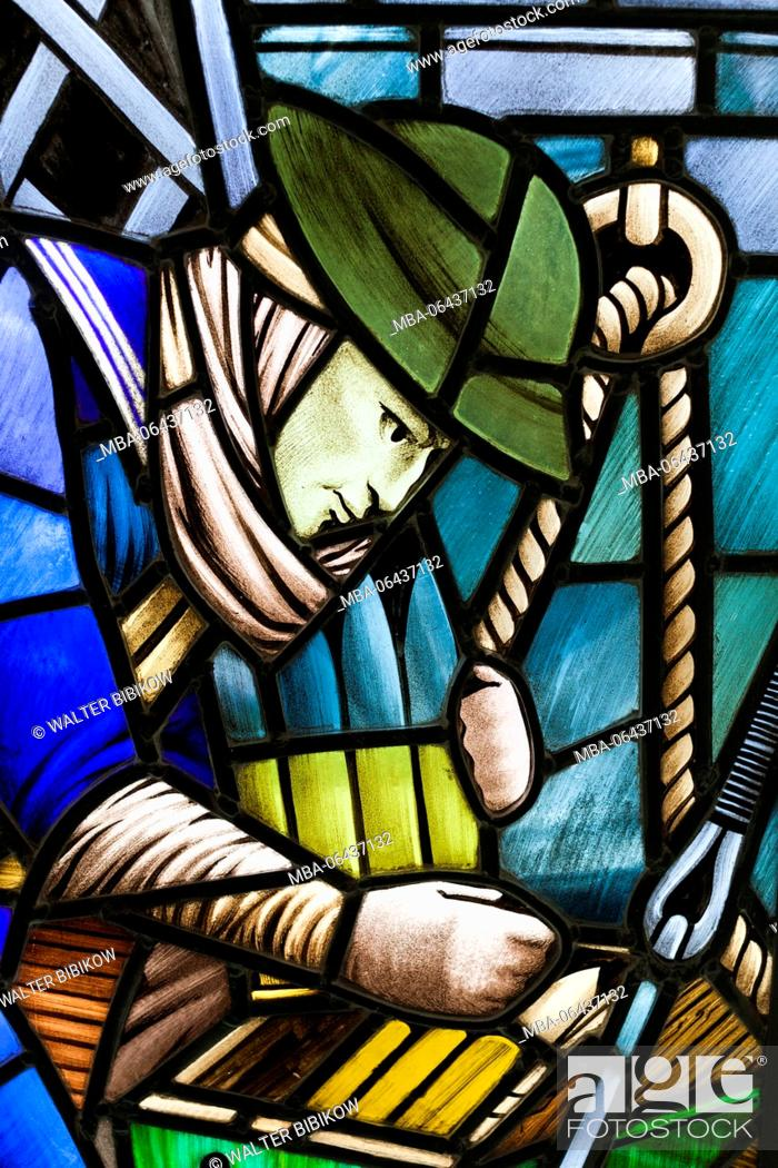 Stock Photo: New Zealand, North Island, Auckland, Auckland War Memorial Museum, WW2-era display, stained glass of soldier.