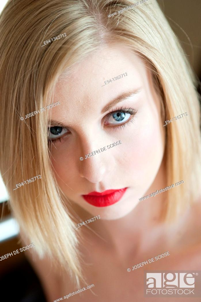 Stock Photo: Portrait of a 19 year old blond woman.