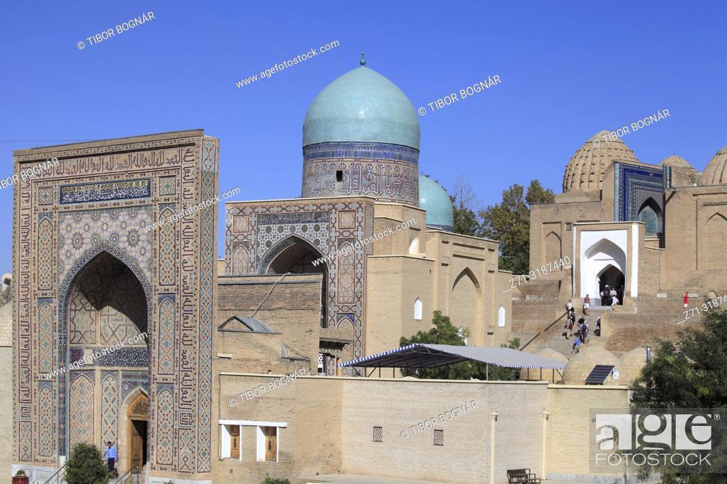 Stock Photo: Uzbekistan, Samarkand, Shah-i-Zinda, necropolis, mausoleums,.