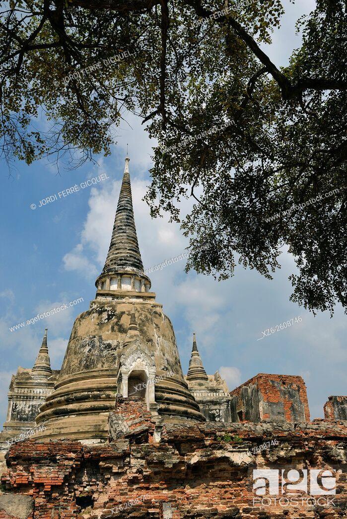 Stock Photo: Wat Phra Si Sanphet, buddhist temple, Phra Nakhon Si Ayutthaya, Thailand, Asia.