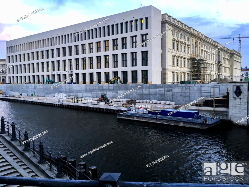 Stock Photo: Berlin, Germany. April 2019. The Former Humbold Palace is being rebuild as a Forum on the Museum Insel, down town Berlin. It's nearly finished.
