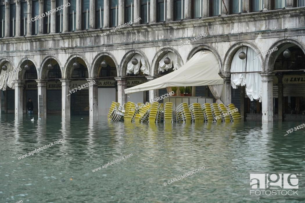 Stock Photo: St. Mark's square during the high tide in Venice, november 2019, Venice, Italy, Europe.