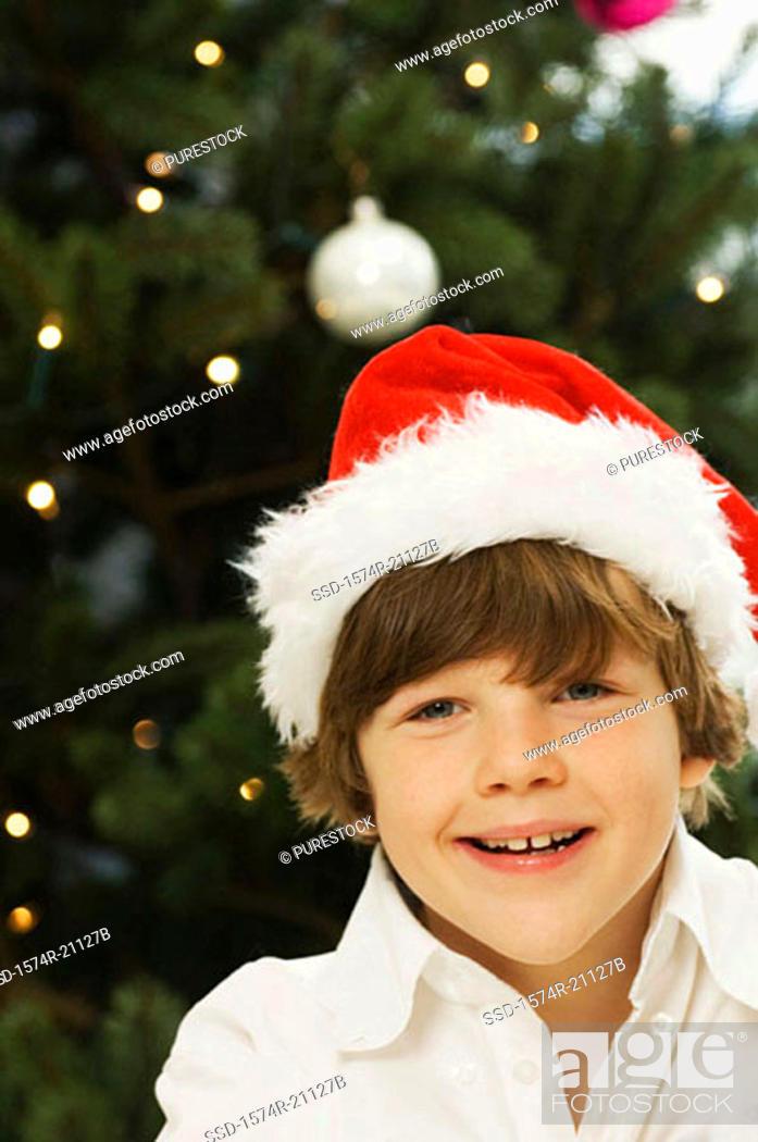Stock Photo: Portrait of a boy smiling.