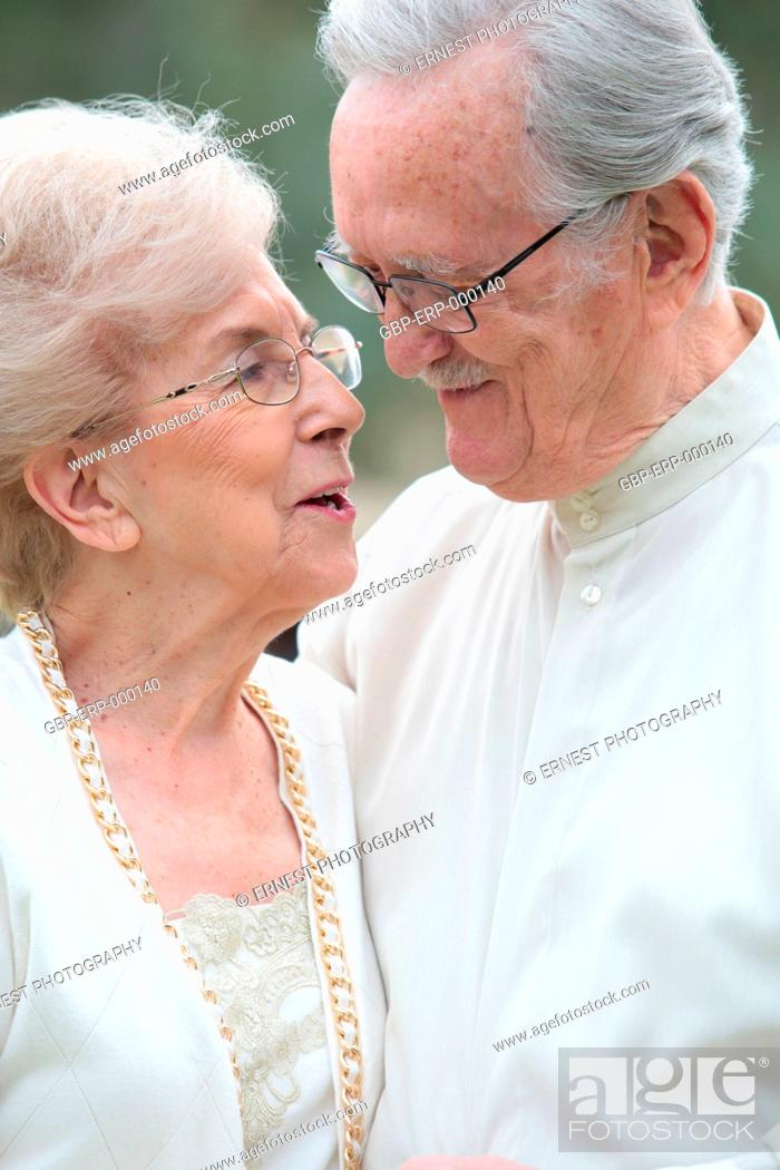 Stock Photo: People, couple, elderly, embraced, 70 years.