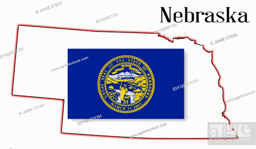 Imagen: Outline of the US state of nebraska over a white background woth flag inset.