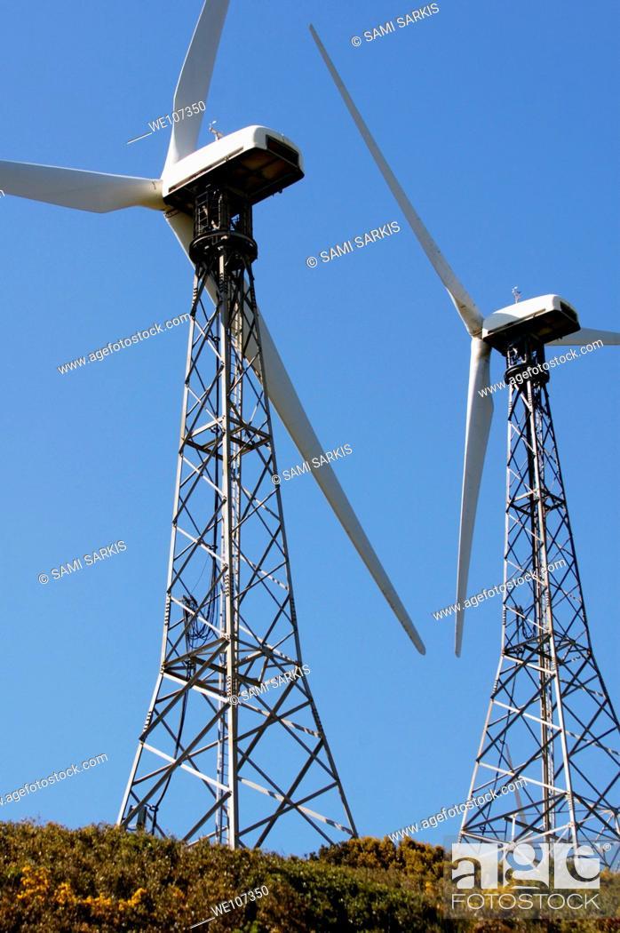 Stock Photo: Wind turbines against blue sky, Tarifa, Andalusia, Spain.