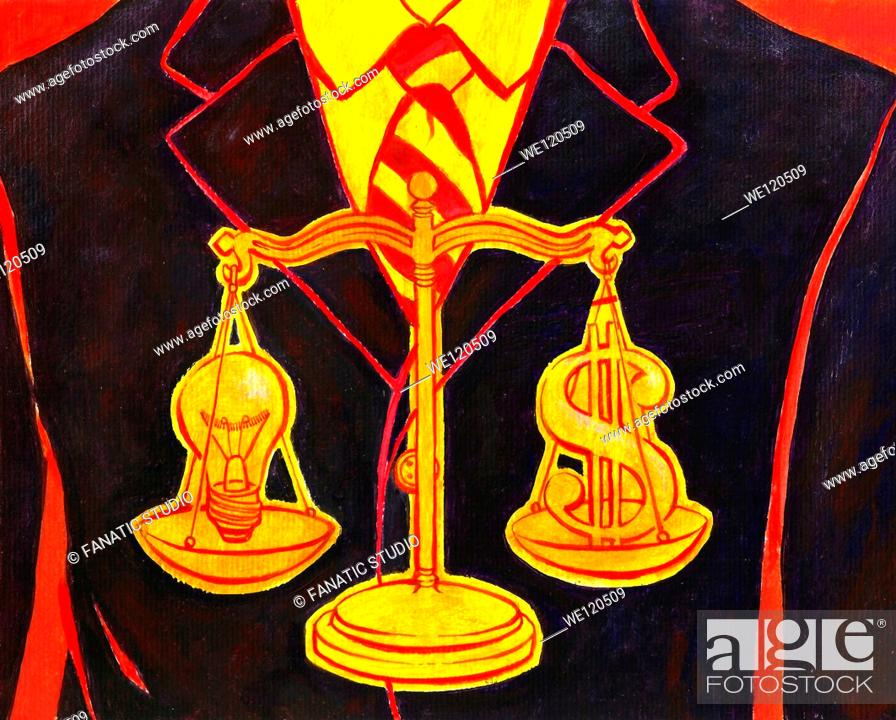 Stock Photo: Conceptual illustration of equal-arm balance with bulb and dollar depicting returns of investment.