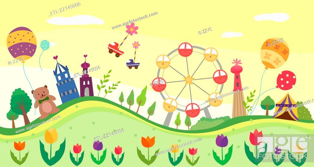 Stock Photo: view of Amusement park.