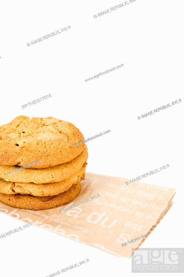 Stock Photo: cookies on paper bag.